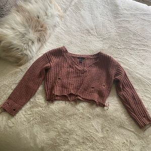 Forever 21 distressed crop v neck sweater - Mauve